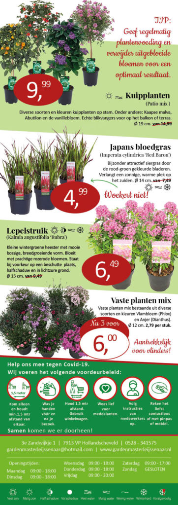 Aanbieding tuinplanten Leijssenaar